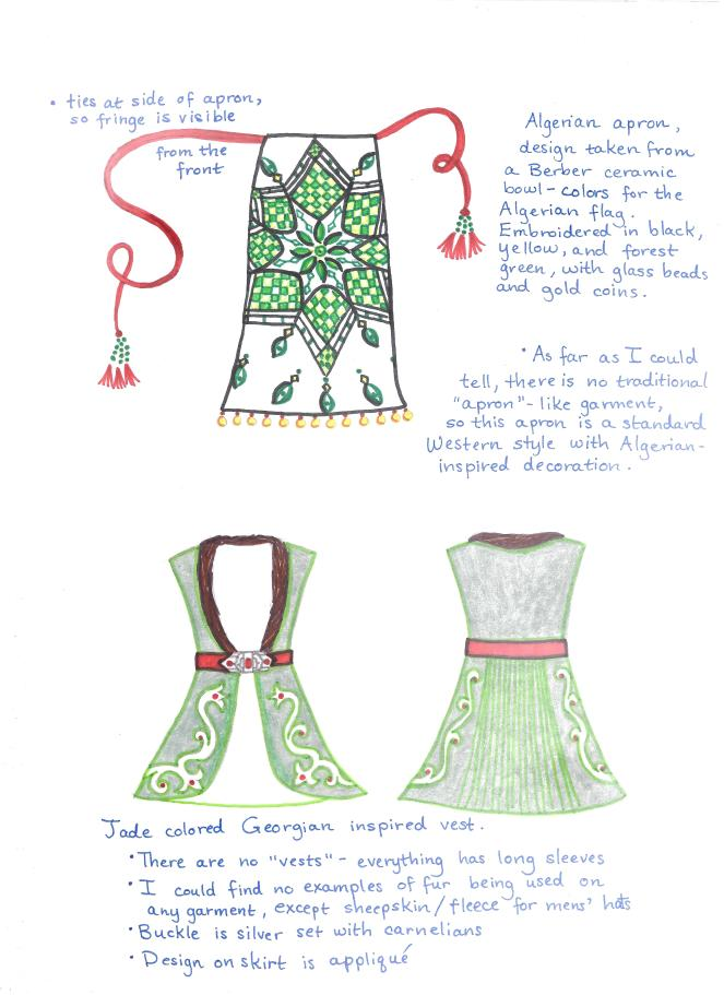 designs for loosely inspired Algerian apron and Georgian vest