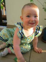 Blue Stripes Baby Dress, size 12-18m