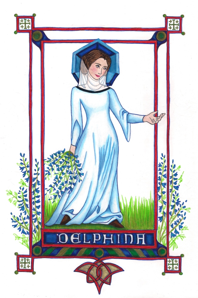 Blessed Delphina, in the style of the Anjou Bible delphina rose | paper and cloth