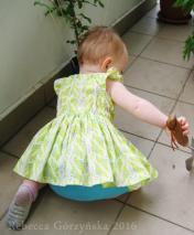 Green Butterflies Baby Dress, size 12-18m