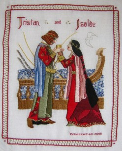 Tristram and Isolde embroidery detail delphina rose | mostly textile art and design