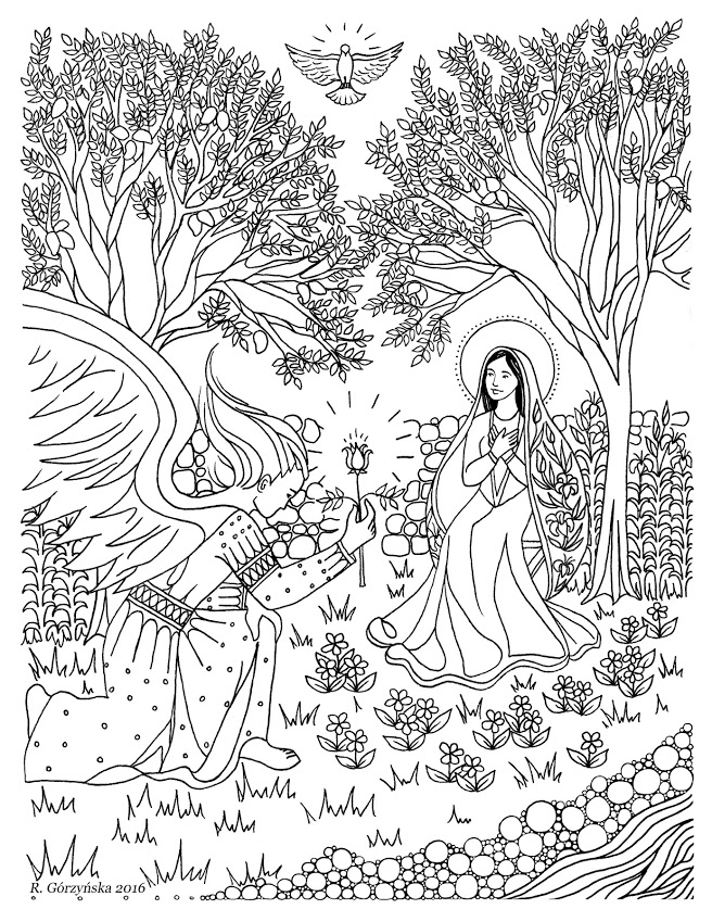 Annunciation Catholic Coloring Page Delphina Rose