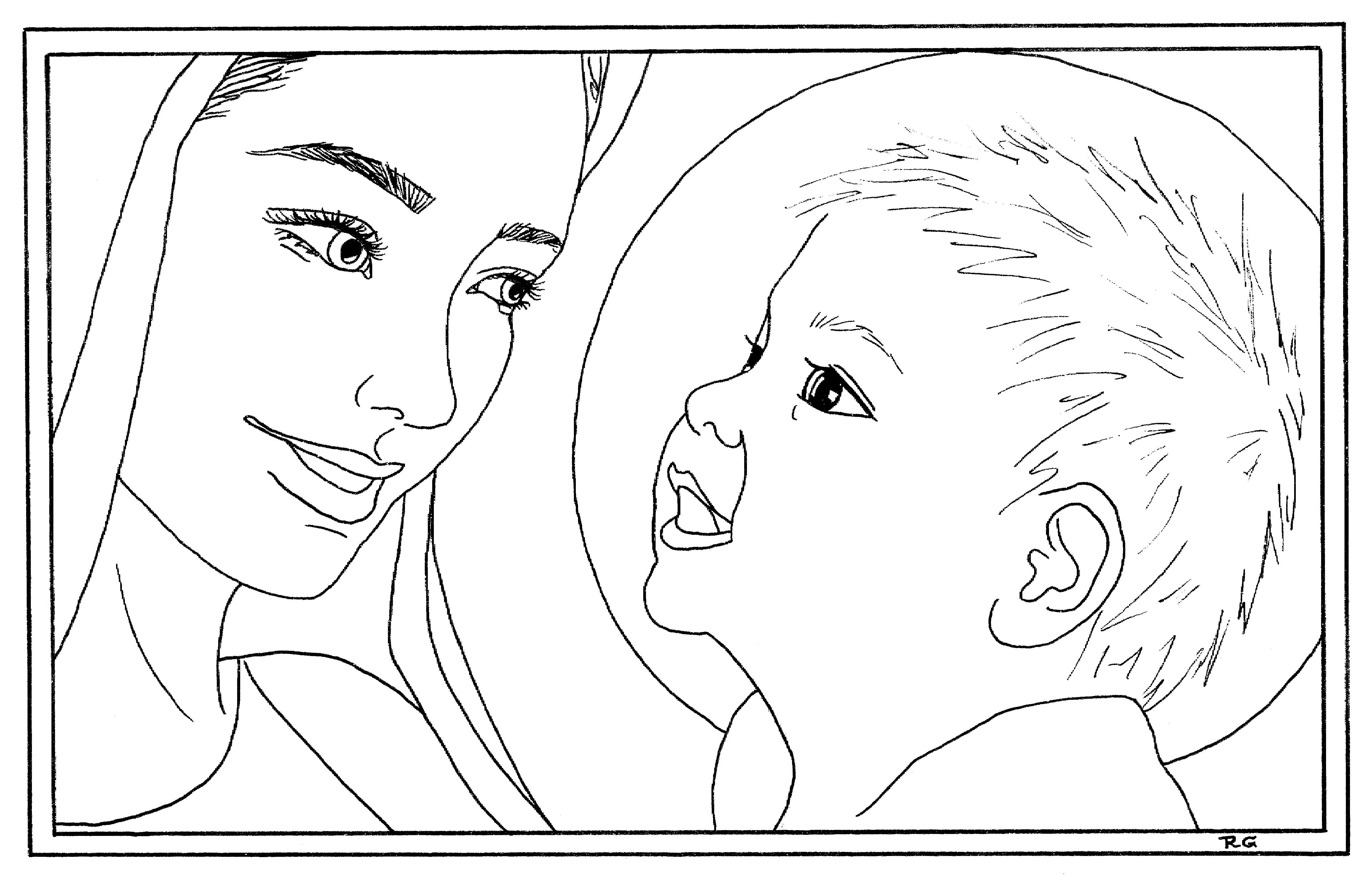 mary coloring page - coloring pages delphina rose