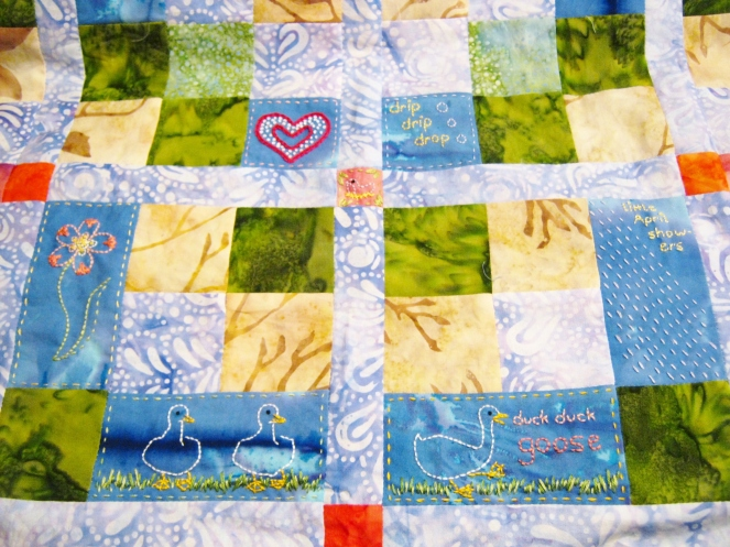 center of embroidered baby quilt-- Rebecca Górzyńska