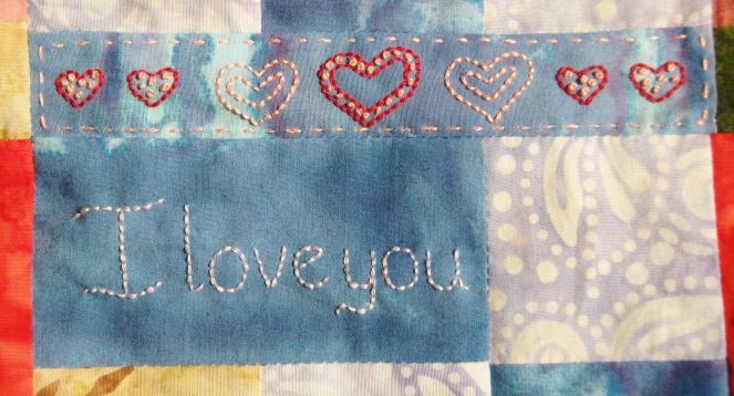 I love you hearts embroidery-- Rebecca Górzyńska