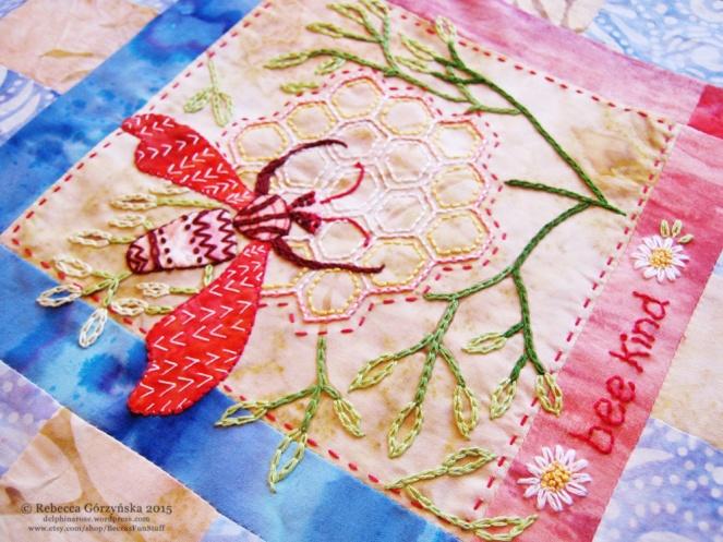 bee kind embroidery Rebecca Górzyńska