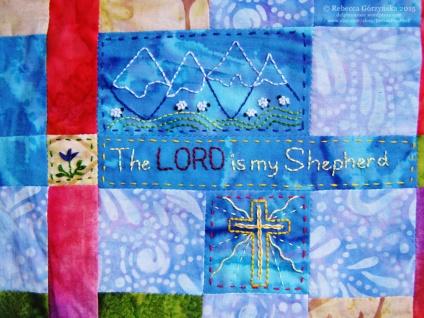The Lord is my Shepherd embroidery Rebecca Górzyńska
