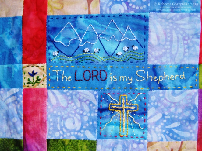 The Lord is my Shepherd embroidery Rebecca Górzyńska