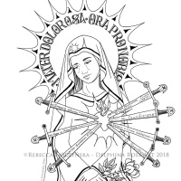 Our Lady of Sorrows + Catholic Coloring Page