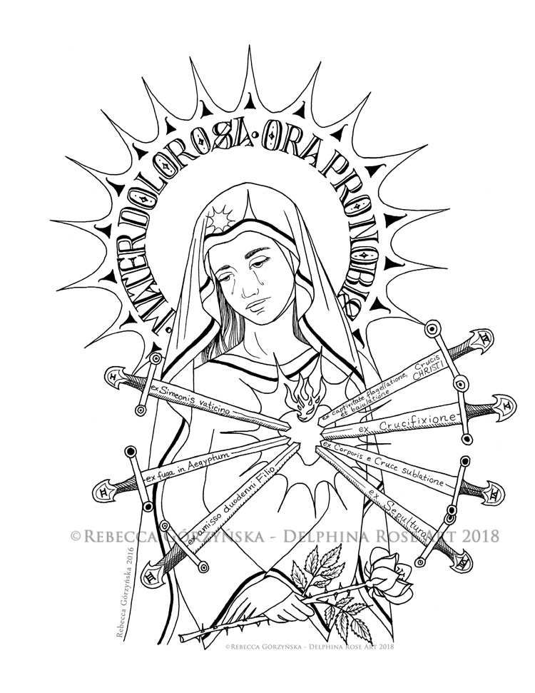 Our Lady of Sorrows + Catholic Coloring Page – Delphina Rose