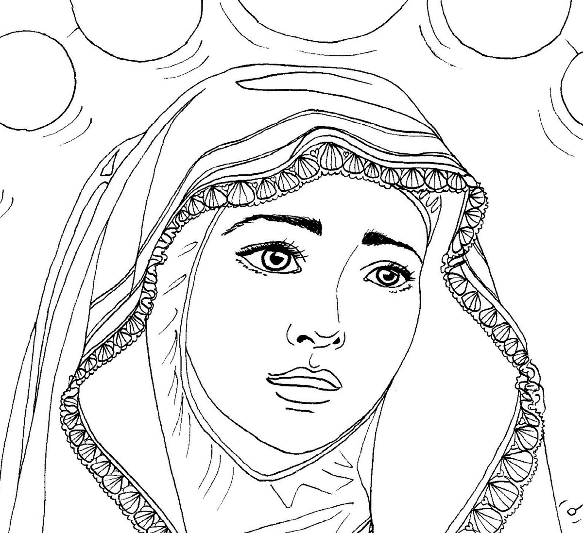 Our Lady of Fatima — Catholic Coloring Page