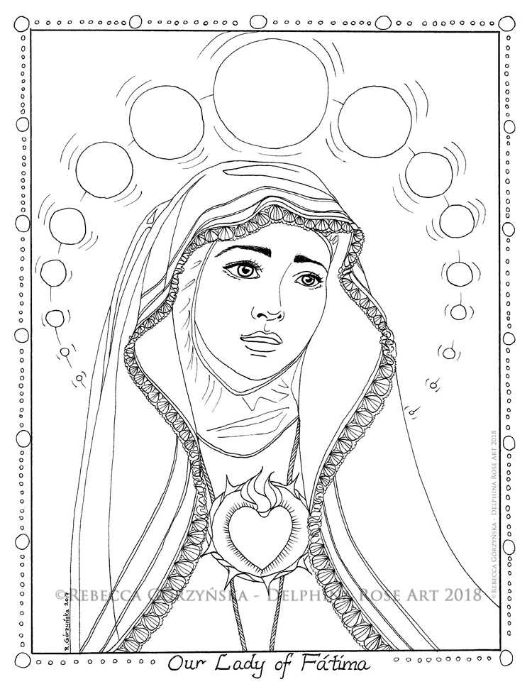 our lady of fatima catholic coloring page