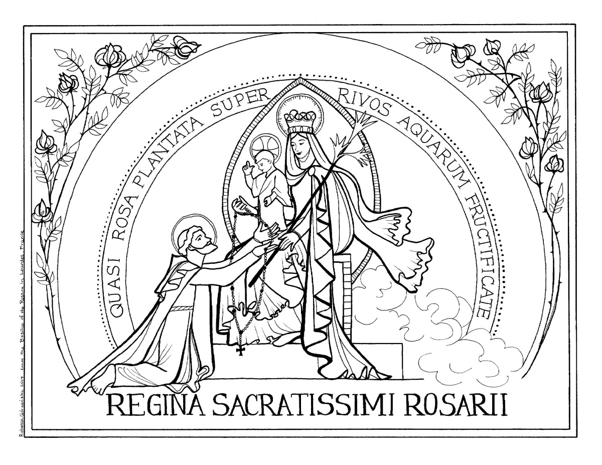 Our Lady of the Rosary / Victory Oct. 7th + Catholic Coloring Page