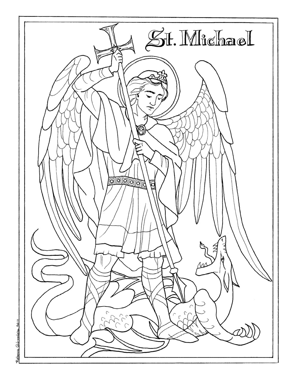 michaelmas feast of st michael the archangel september 29th catholic coloring page
