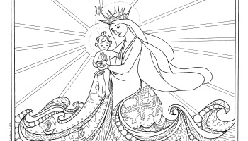 star of the sea stella maris catholic coloring page - Catholic Coloring Pages