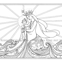 Star of the Sea / Stella Maris + Catholic Coloring Page