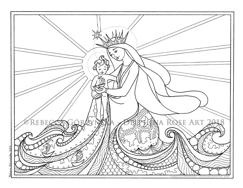 Star of the Sea / Stella Maris + Catholic Coloring Page – Delphina Rose