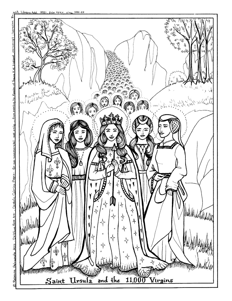 St. Ursula and the 11,000 Virgins + Catholic Coloring Page