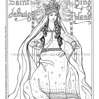 Saint Jadwiga, King of Poland -or- I Married a Barbarian When I was 12 and Thus Converted Lithuania, Hooray + Catholic Coloring Page