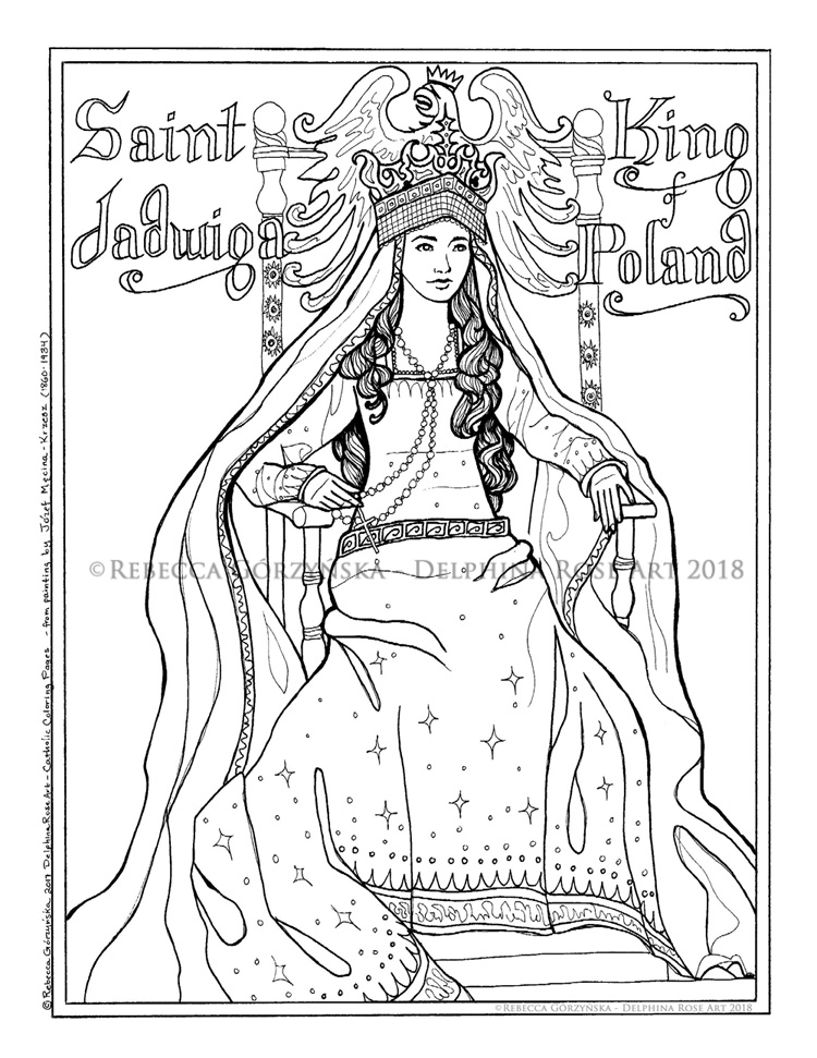 saint jadwiga king of poland or i married a barbarian when i was 12 and thus converted lithuania hooray catholic coloring page