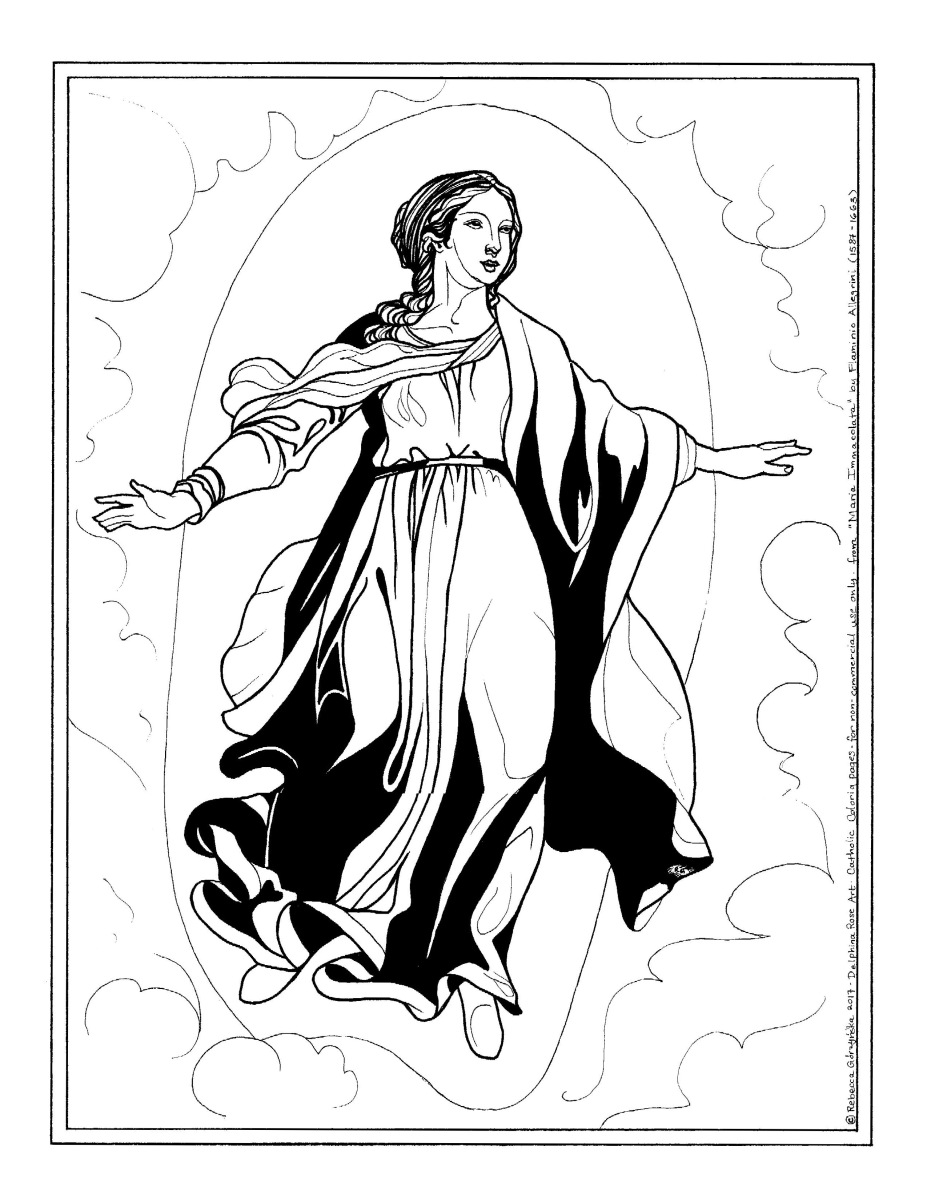 Maria Immacolata - Flaminio Allegrini - Catholic Coloring Page