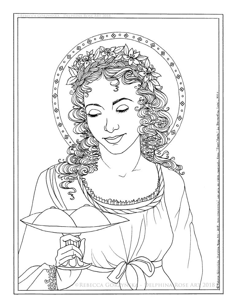 Agatha-Luini coloring- Rebecca Górzyńska - Delphina Rose Art