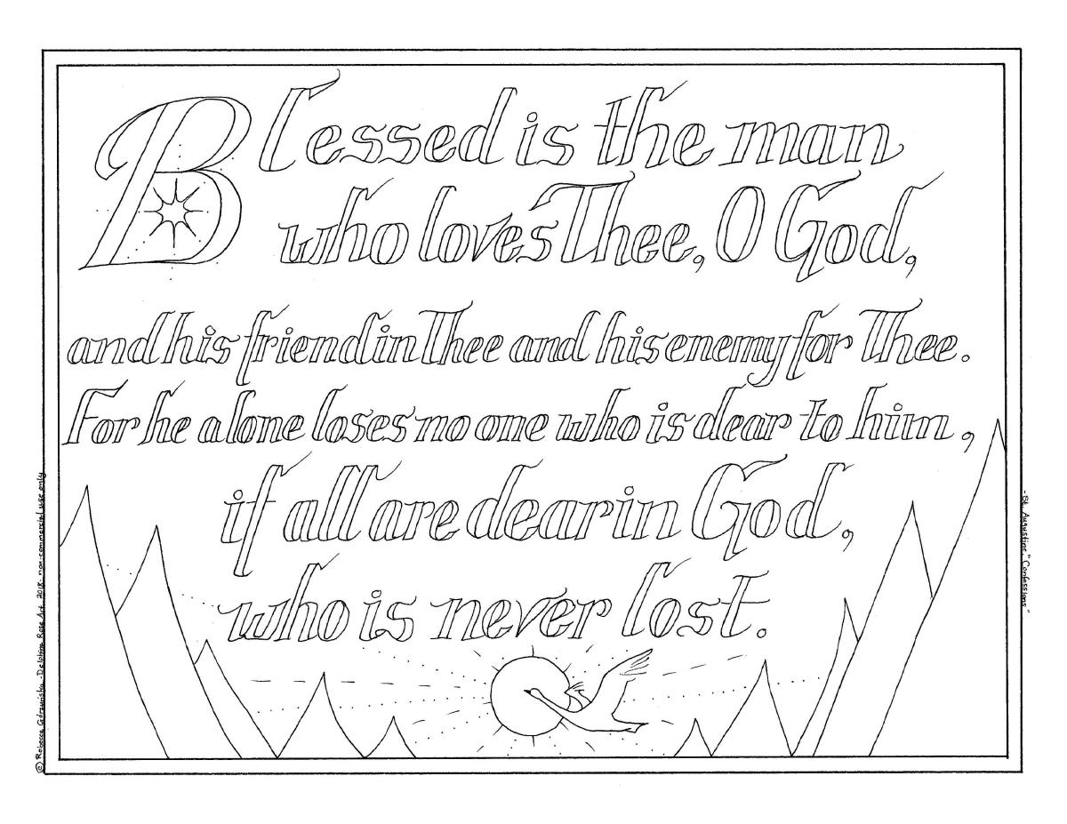 """All are Dear in God, Who is Never Lost"" - St. Augustine Quote + Catholic Coloring Page"