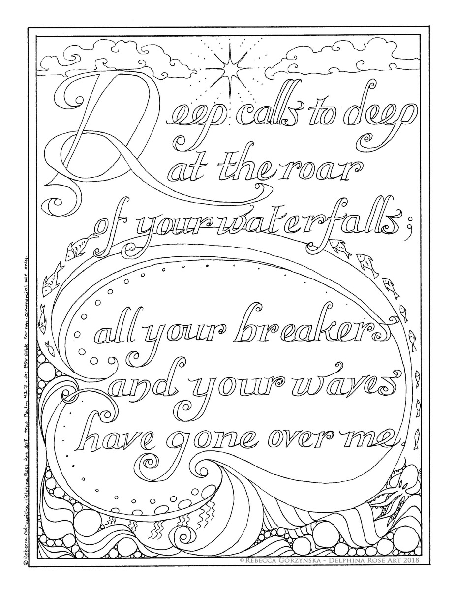 "Psalm 42:7-8 ""Deep calls to deep"" Calligraphy Coloring Page Set"